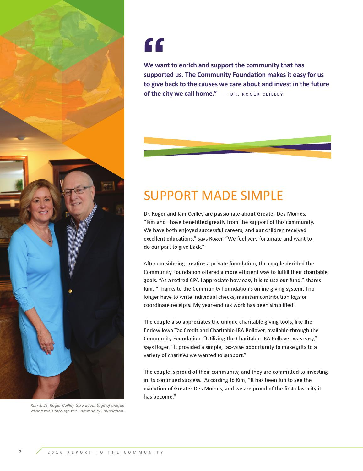 community foundation of greater des moines 2016 report to the