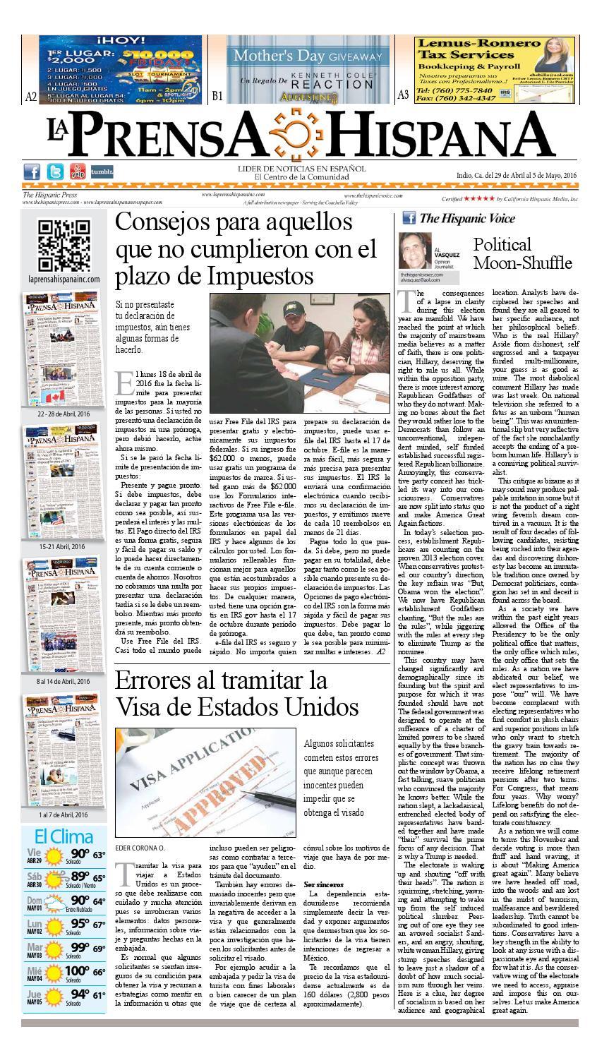 La Prensa Hispana 29 Abril - 5 Mayo, 2016 by La Prensa Hispana - issuu