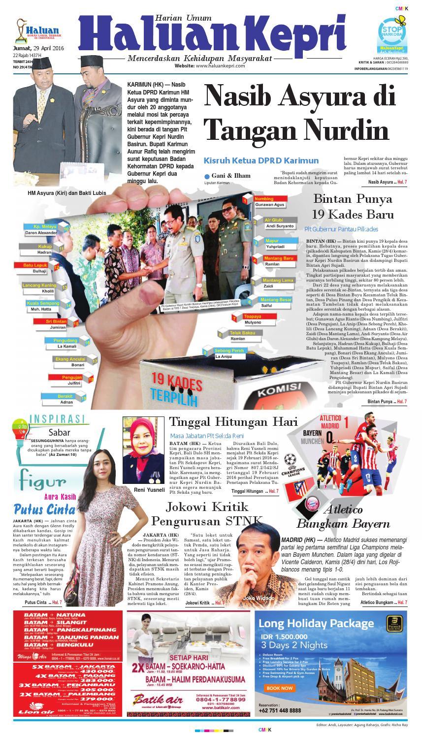 Haluan Kepri 29apr16 By Issuu Produk Ukm Bumn Atasan Tenun Pria Lengan Pendek Hijau B
