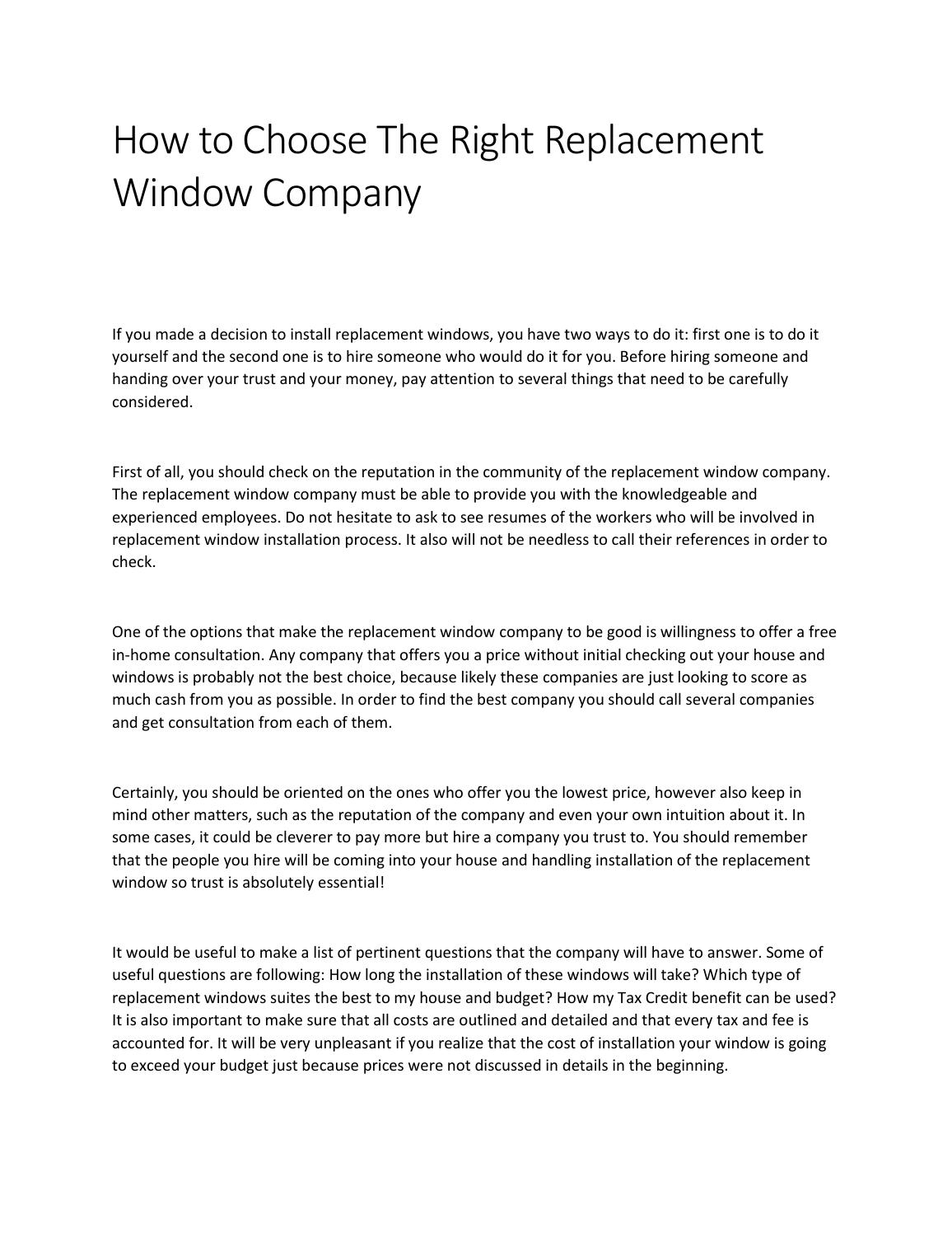 How To Choose The Right Replacement Window Company By Nadia Javaid