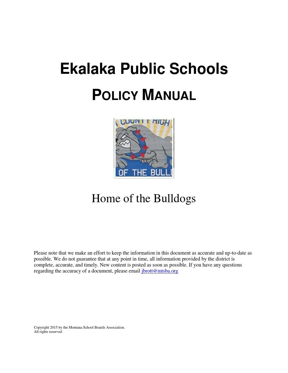Ekalaka Public Schools Policy Manual by Montana School Boards Association -  issuu