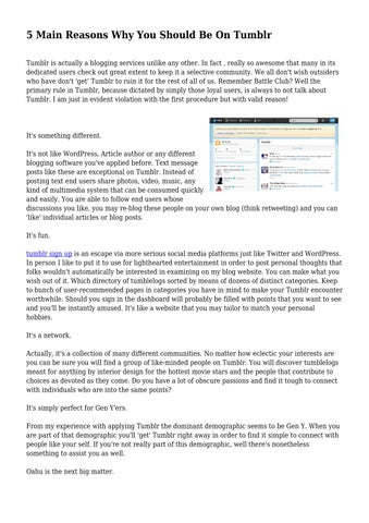 5 Main Reasons Why You Should Be On Tumblr by cooltechhigh - issuu