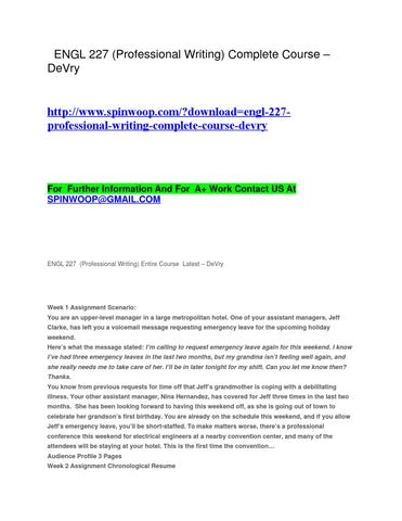 Engl 227 Professional Writing Complete Course Devry By