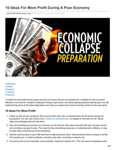 Earnwithmillionaires com 10 ideas for more profit during a poor