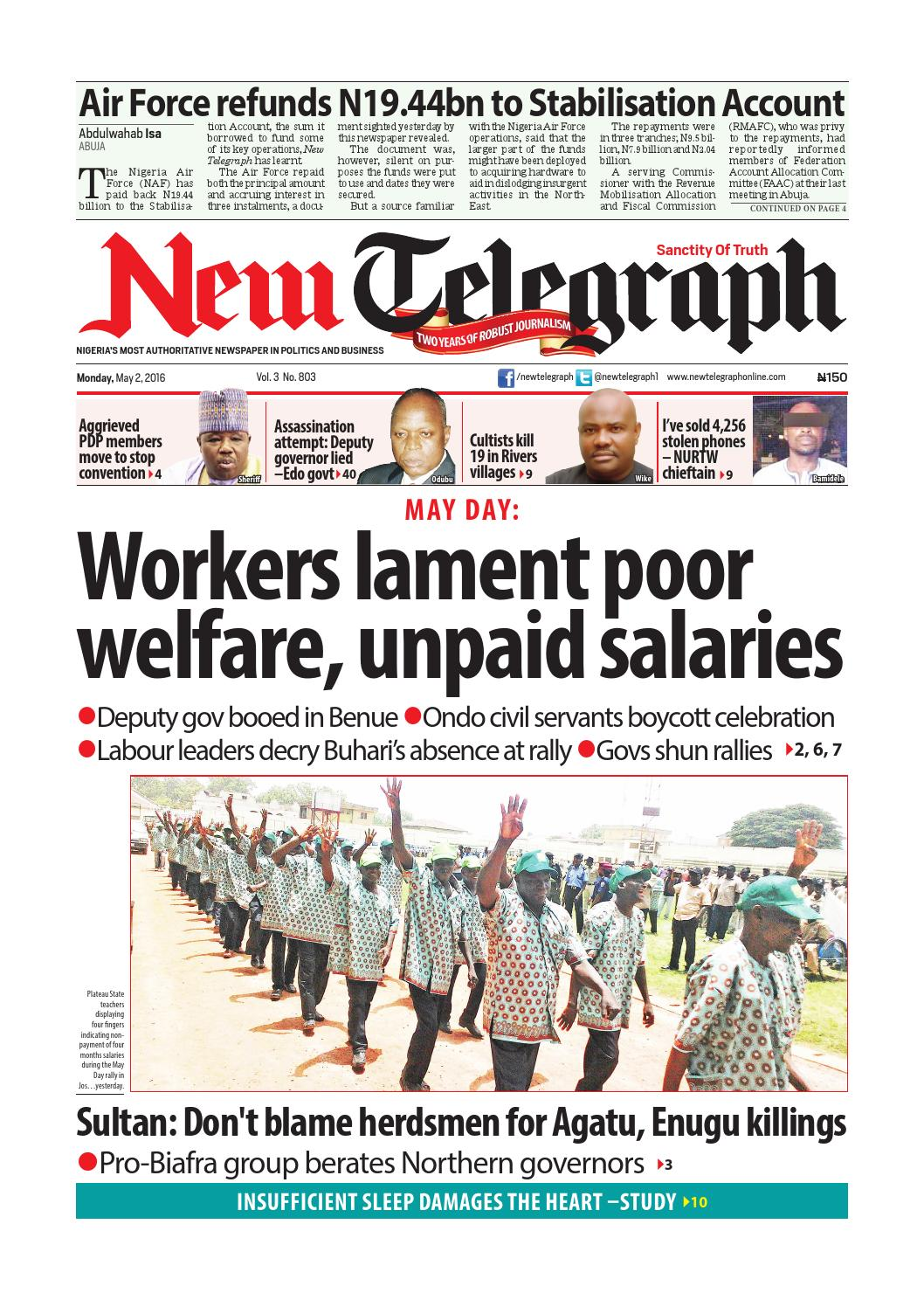 New Telegraph Monday May 2 2016 By Newtelegraphonline Issuu Imo Z10 Fortune
