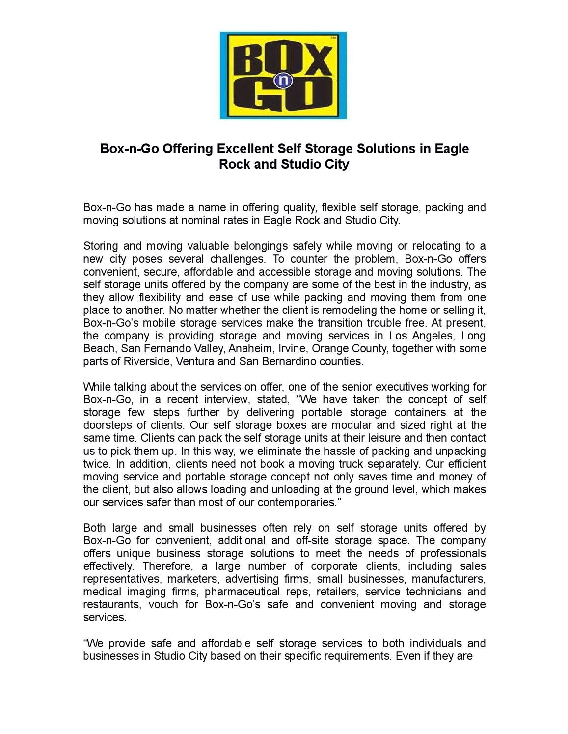 Box N Go Offering Excellent Self Storage Solutions In Eagle Rock And Studio  City By Boxngo   Issuu