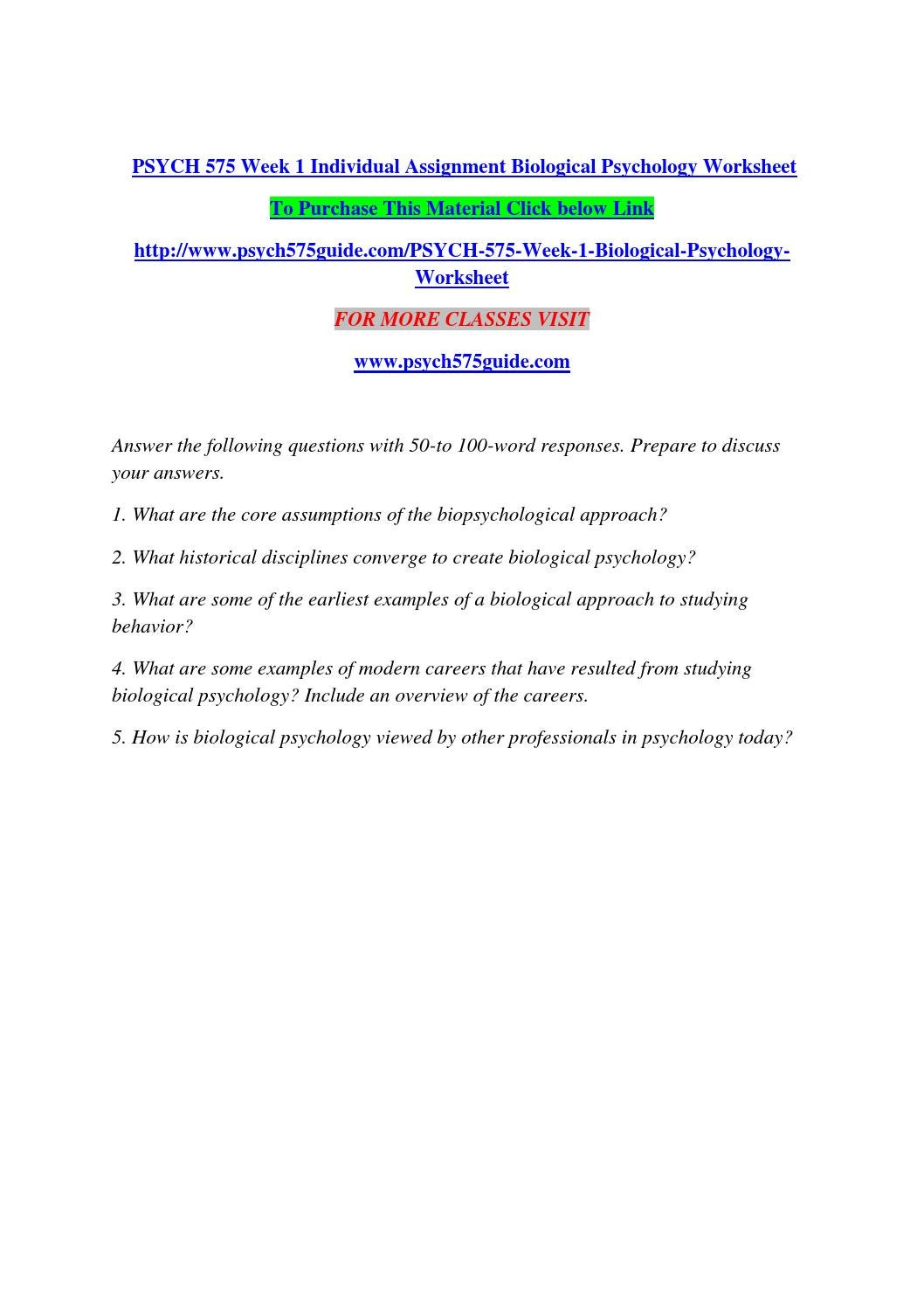 Psych 575 Week 1 Individual Assignment Biological Psychology