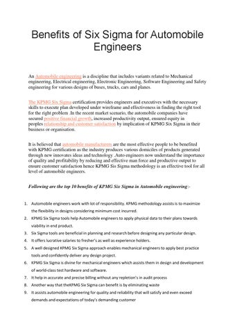 benefits of six sigma for automobile engineers by henry harvin ...