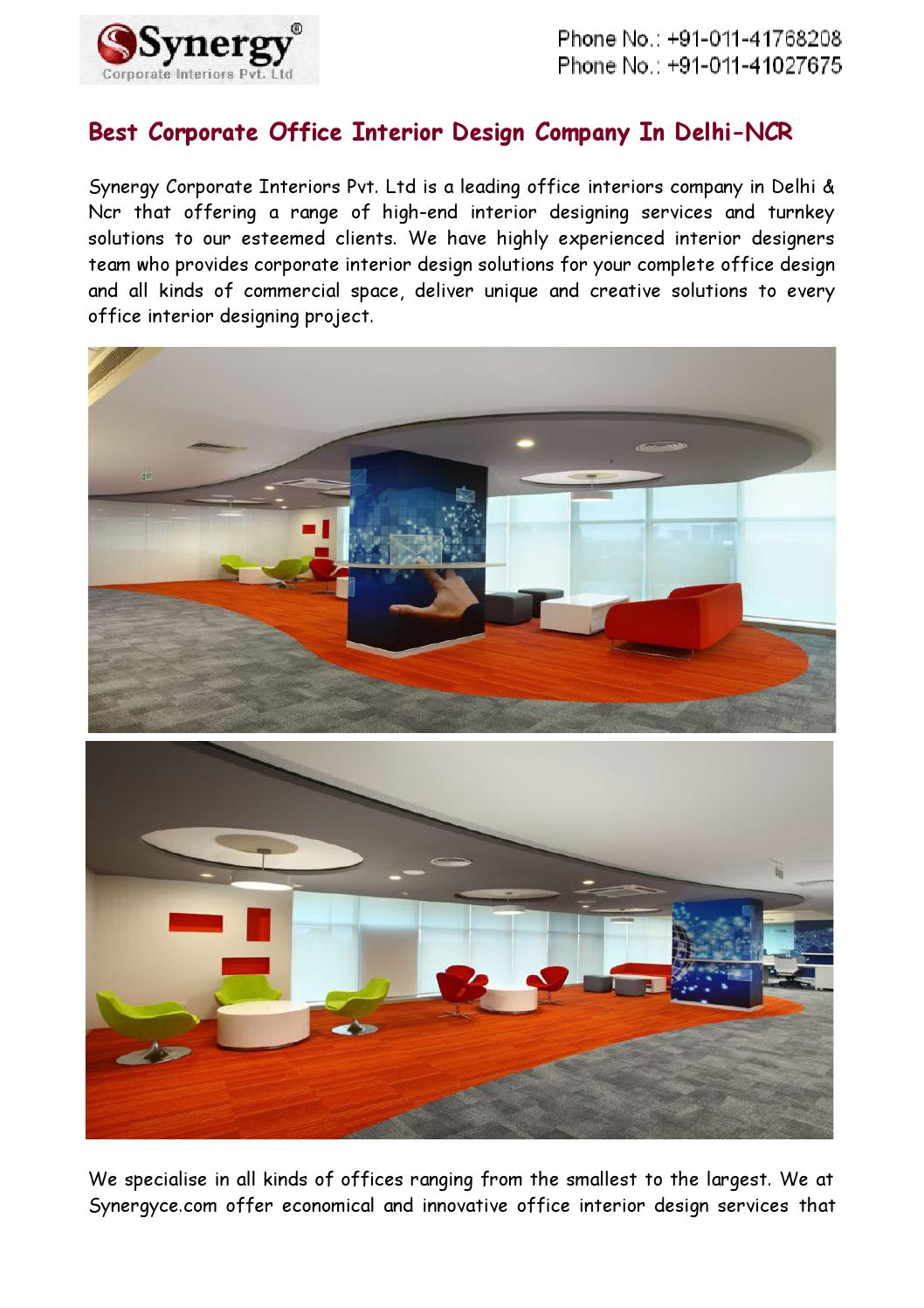 Best Corporate Office Interior Design Company In Delhi Ncr By Synergy Corporate Interiors Pvt