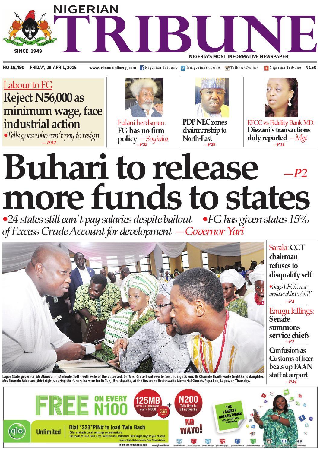 29th April 2016 by Nigerian Tribune - issuu