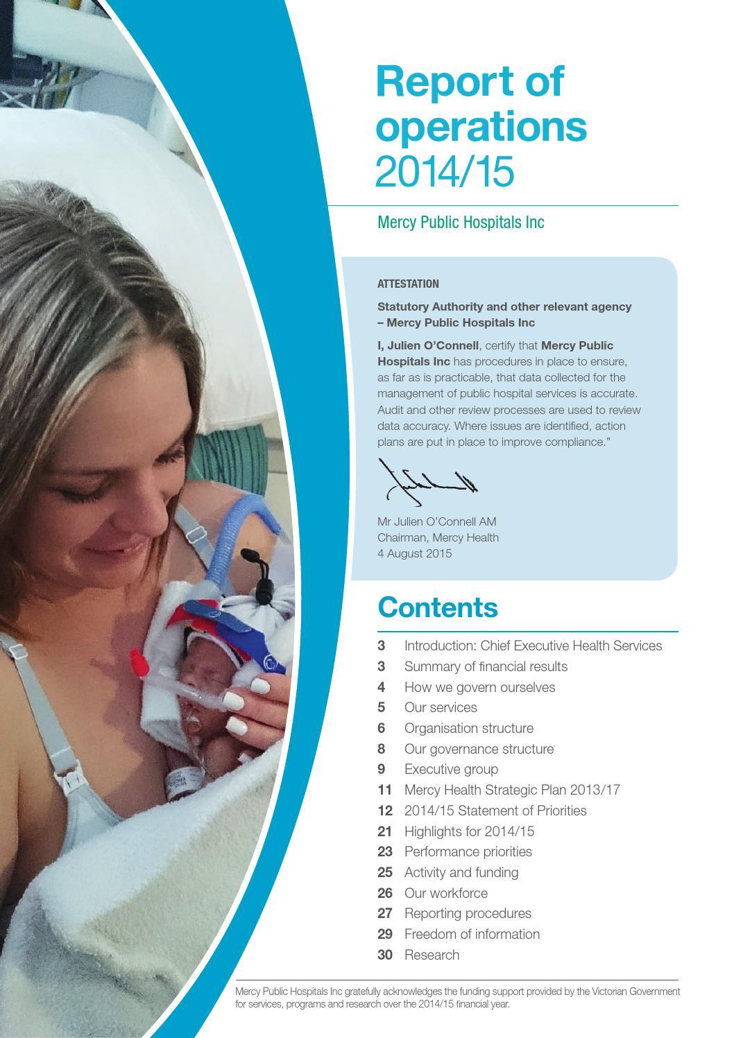 Mercy Health - MPHI Report 2015 by MercyHealthAus - issuu