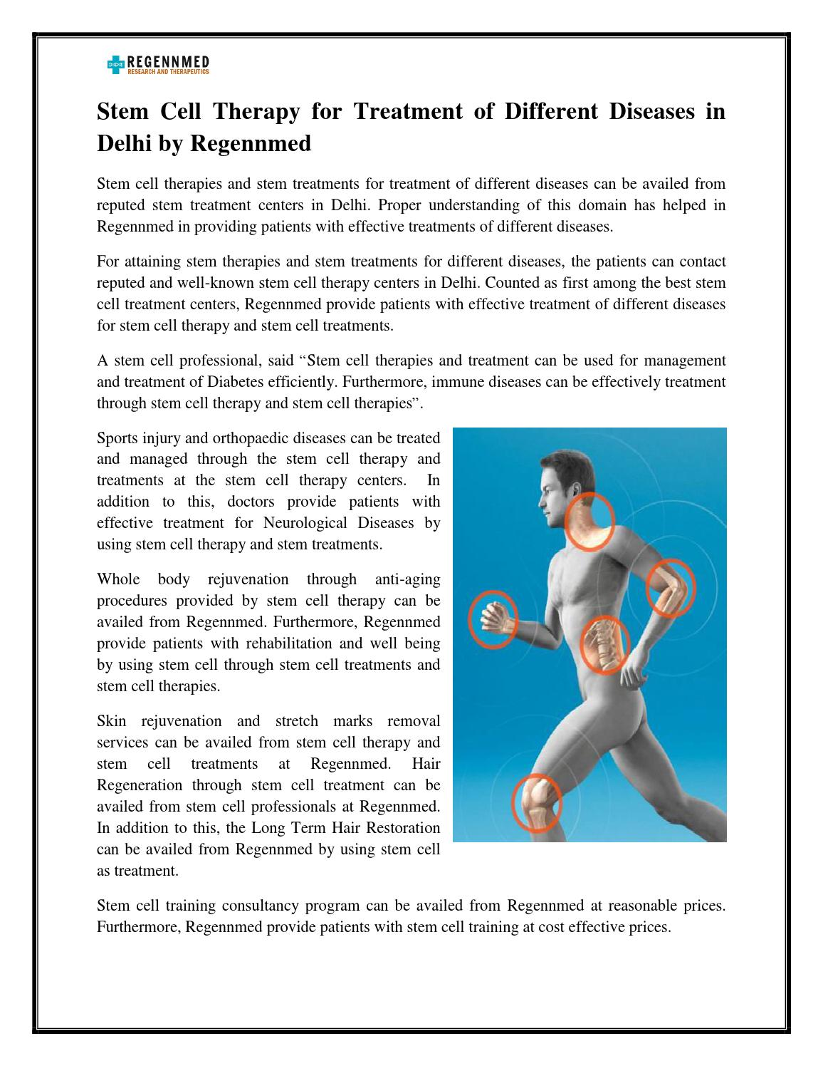 Stem Cell Therapy For Treatment Of Different Diseases In Delhi By Regennmed By Regennmed Issuu