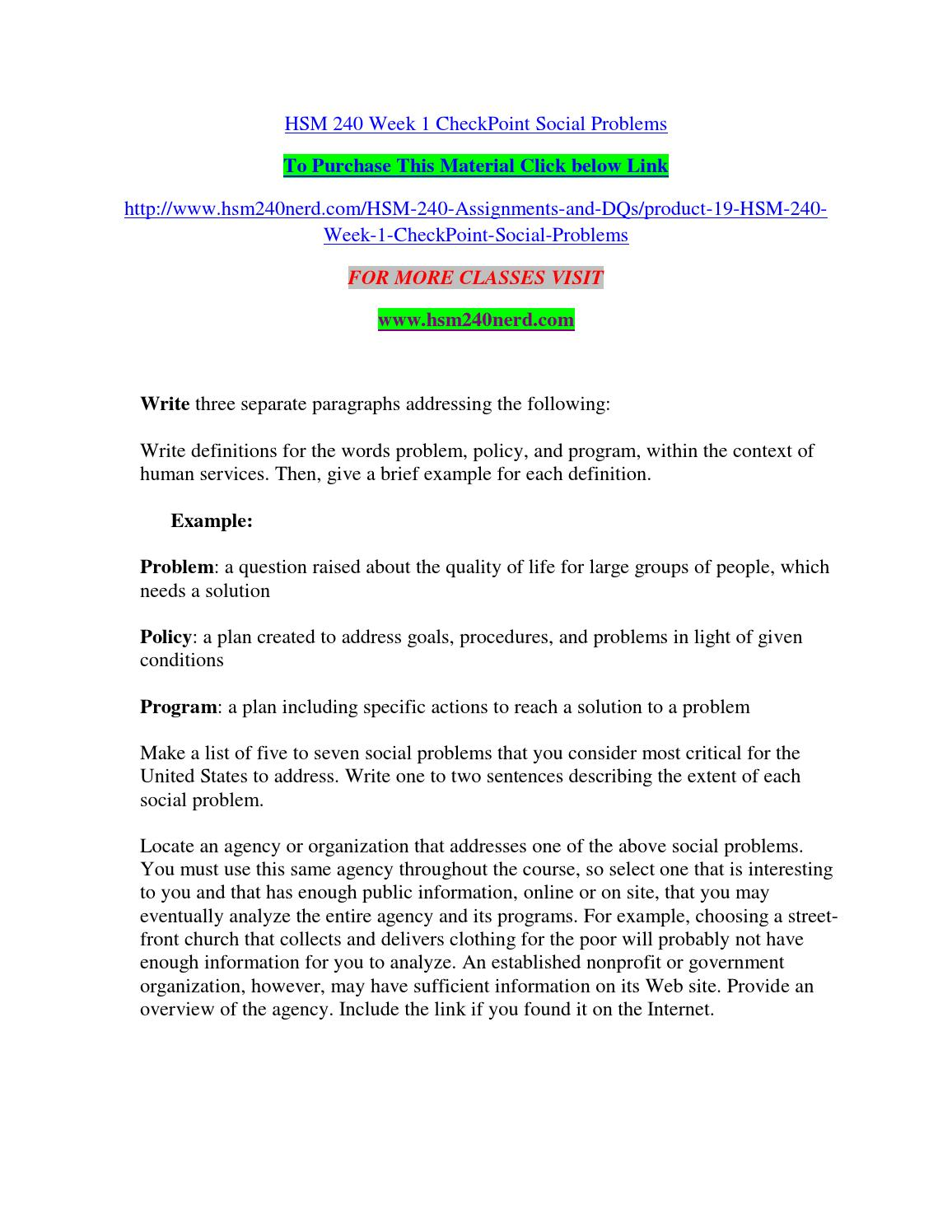 hsm 240 week 1 checkpoint social problems by austinamm - issuu
