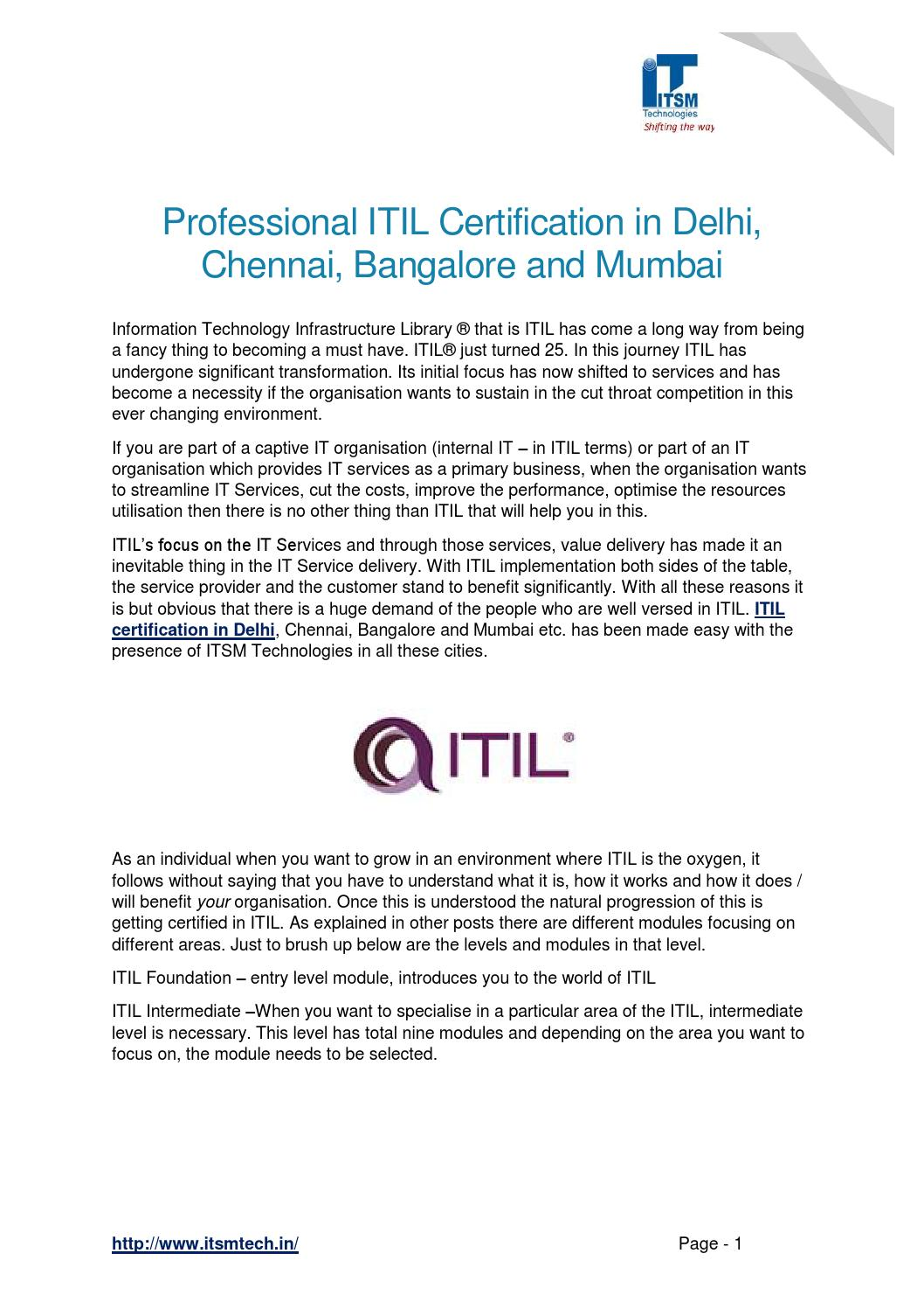 Professional Itil Certification In Delhi Chennai Bangalore And