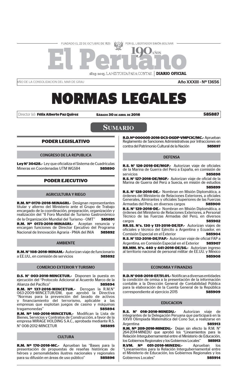 Normas Legales 30 04 2016 by Gaceta Juridica - issuu