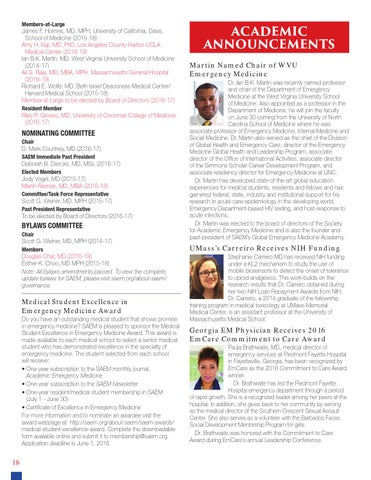SAEM Newsletter May/June 2016 by Society for Academic
