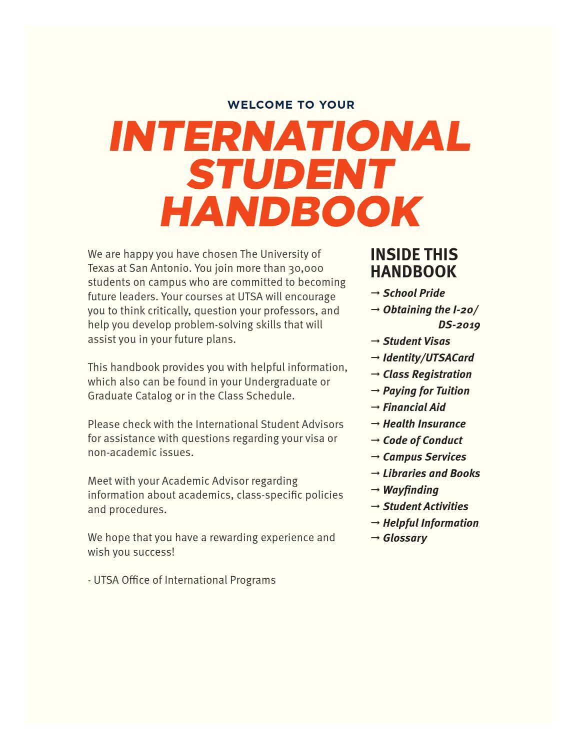 Utsa Academic Calendar Spring 2022.New International Student Handbook By Utsa International Issuu