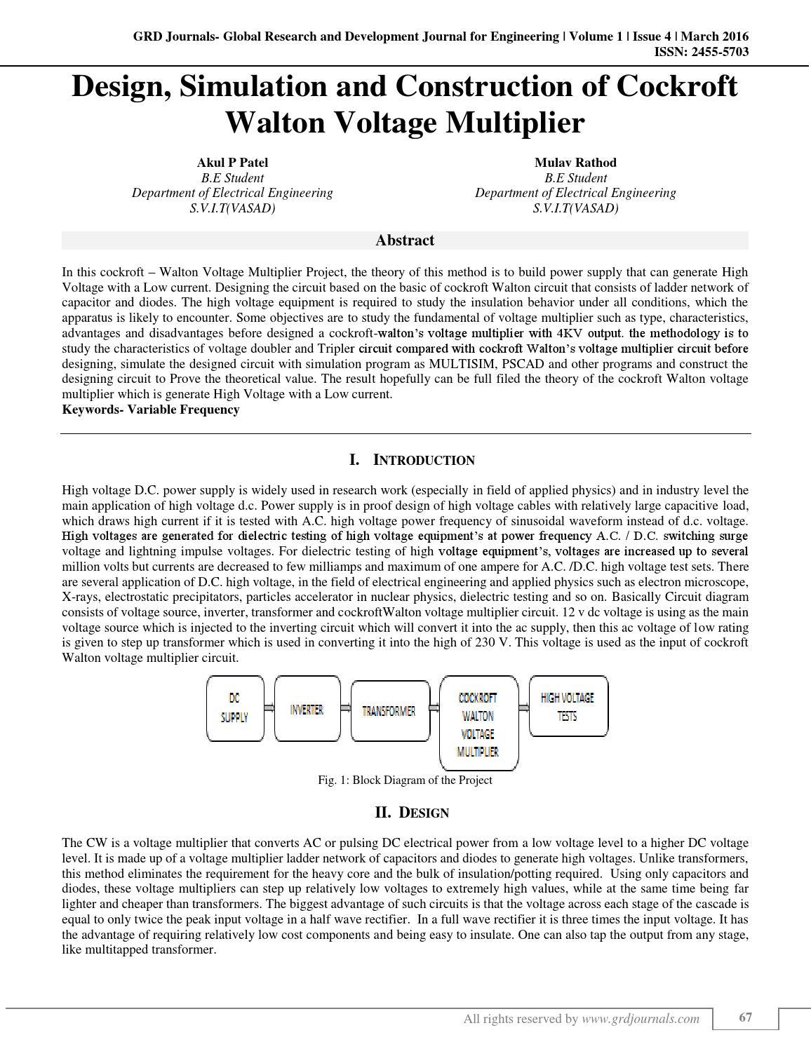 Design, Simulation and Construction of Cockroft Walton Voltage