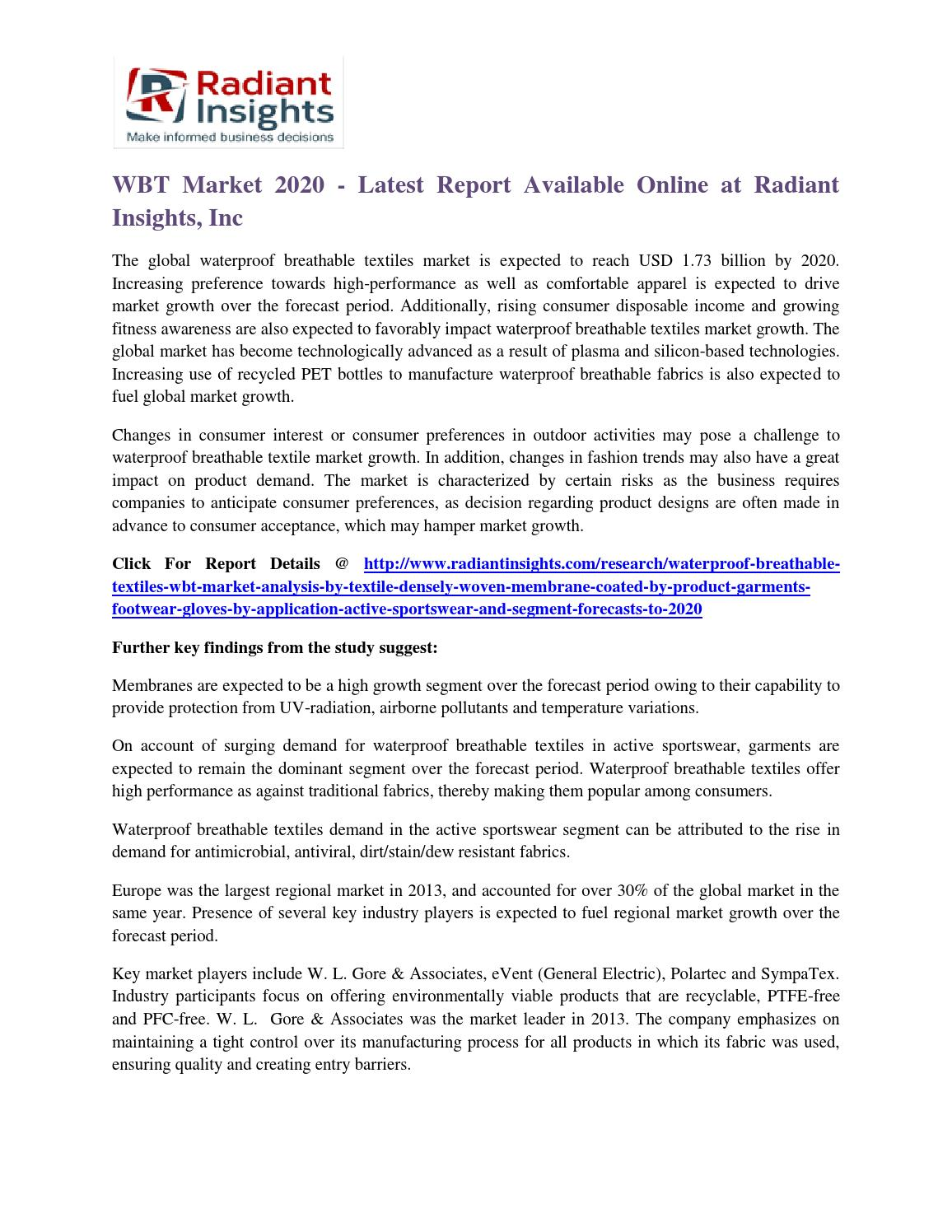 Wbt market 2020 latest report available online at radiant insights