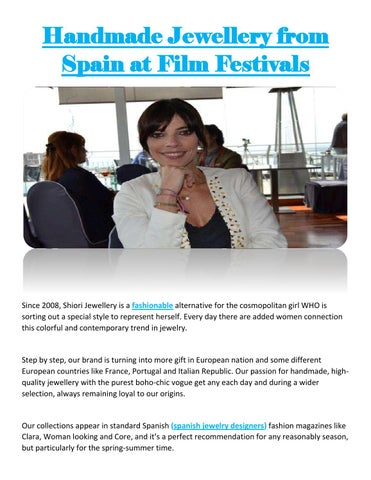 Handmade Jewellery from Spain at Film Festivals by Shiori Handmade