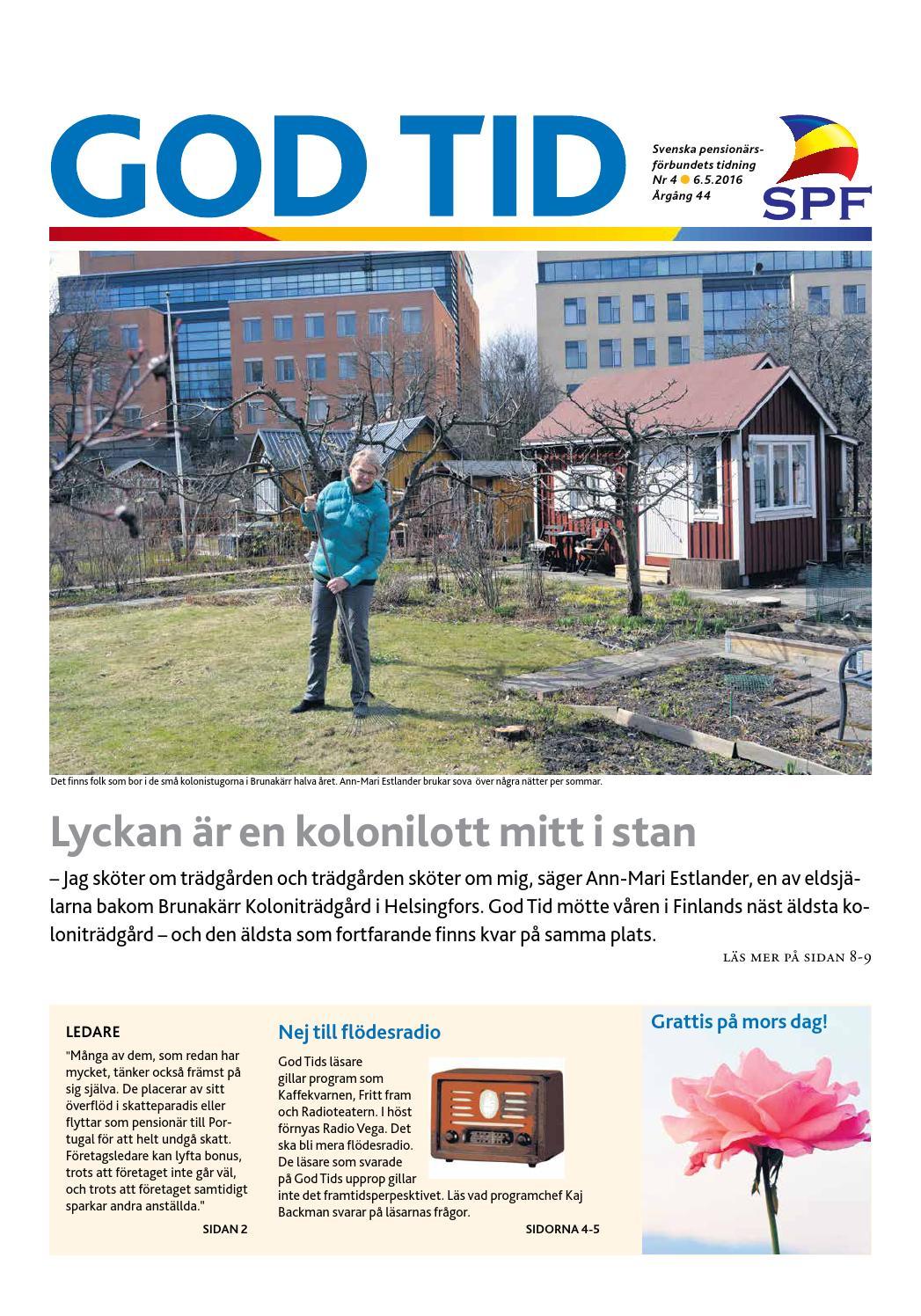 God Tid 4 2016 by Svenska pensionärsförbundet d7440f87c8cb4