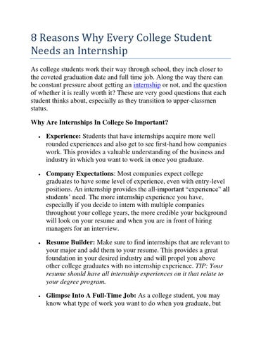8 Reasons Why Every College Student Needs An Internship By Pursue
