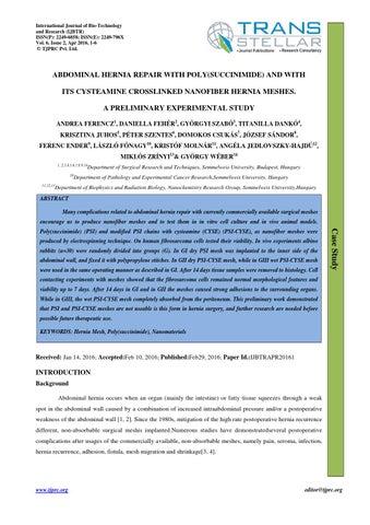 1 ijbtr abdominal hernia repair with poly succinimide by Transtellar