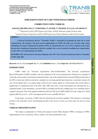 1 ijecierd implementation of uart with single error by