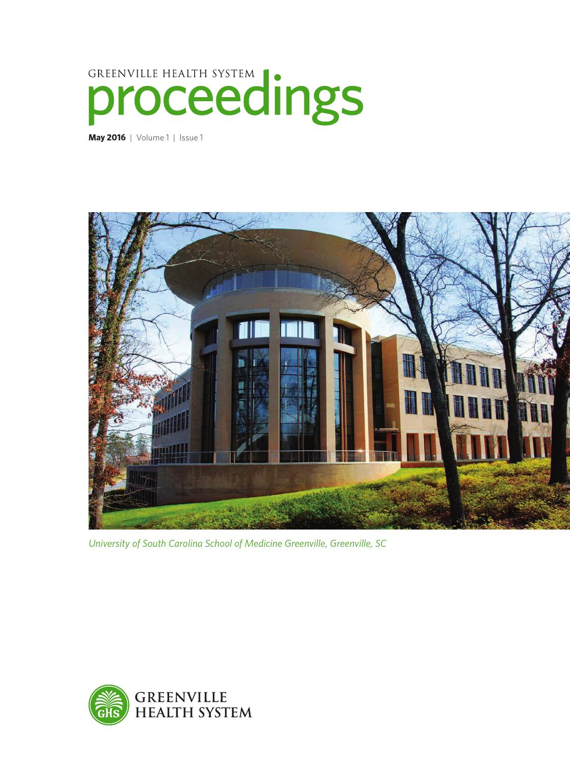 Greenville Health System Preceedings vol 1  issue 1 by