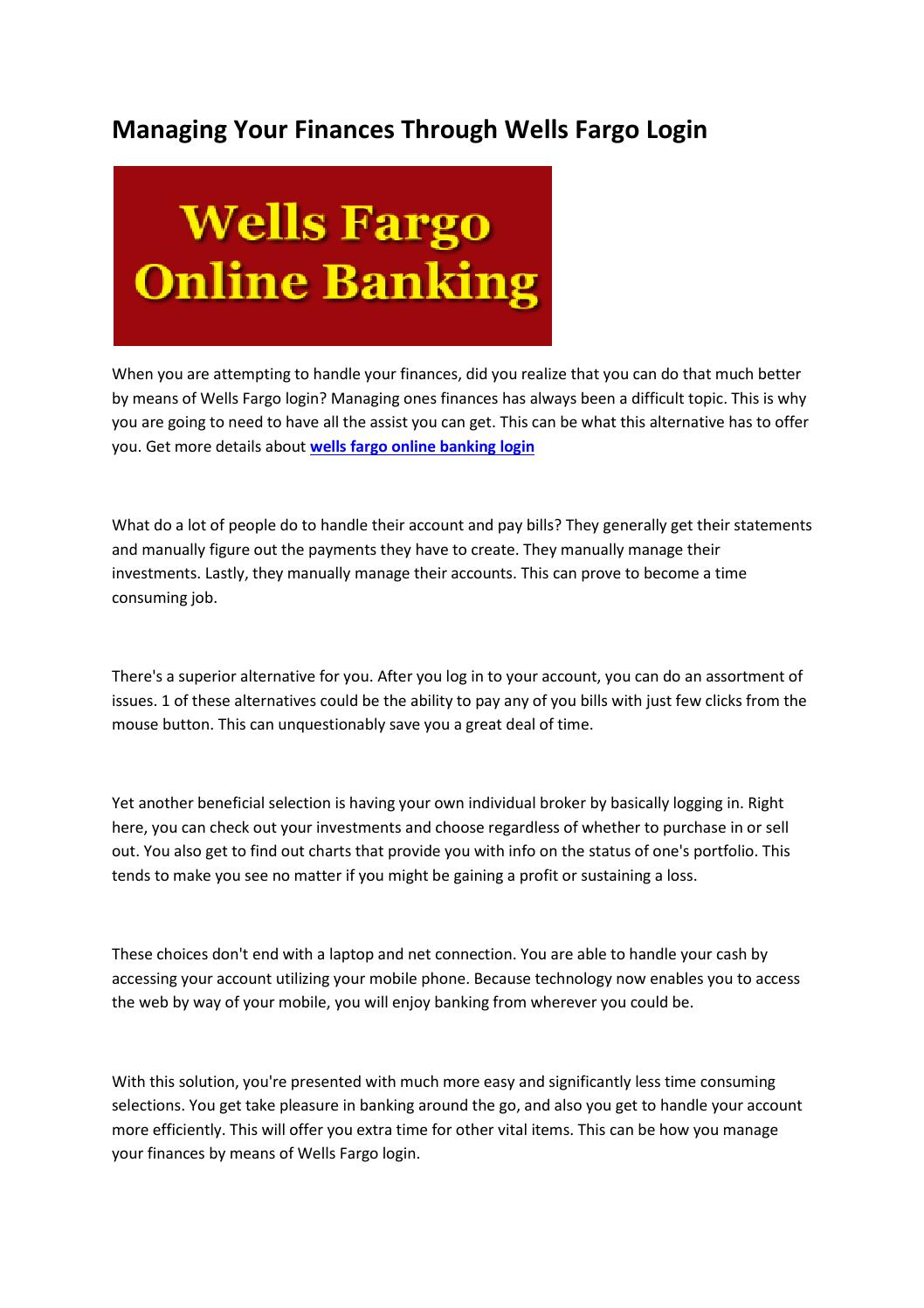wells fargo online banking login by Kain Black - issuu