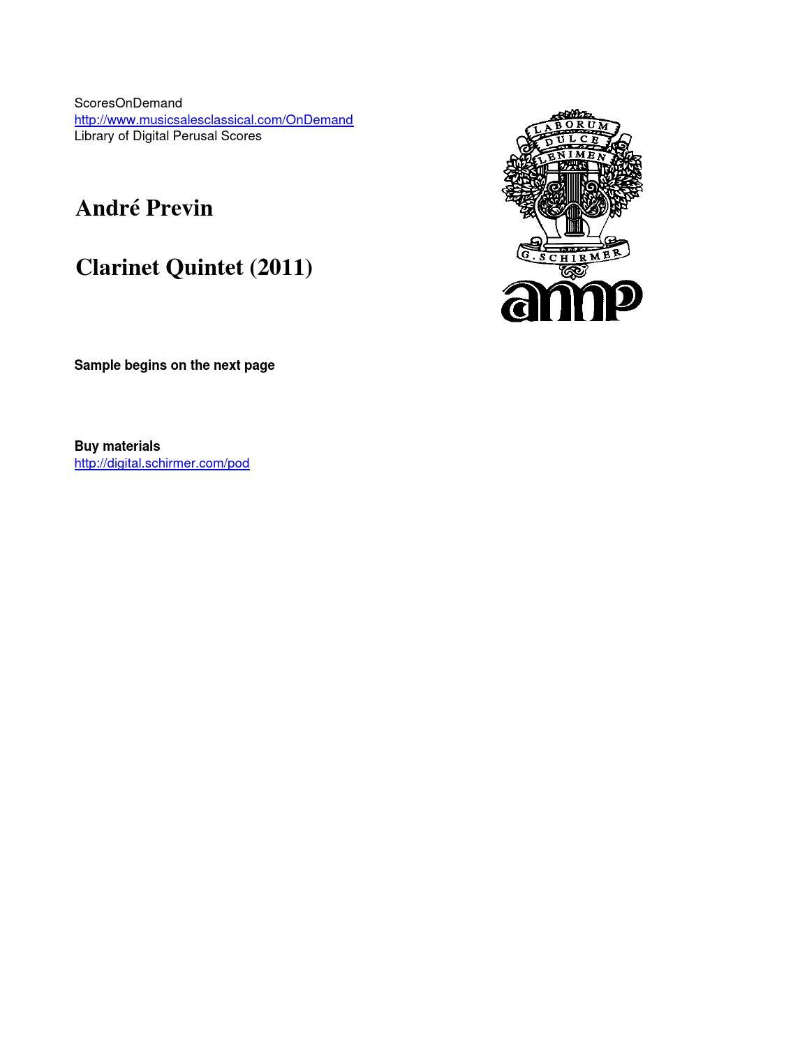 Previn CLARINET QUINTET by ScoresOnDemand - issuu