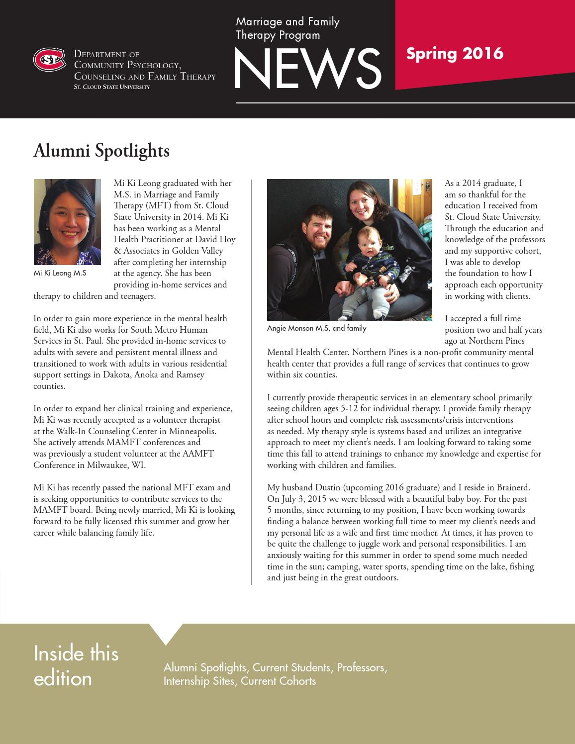 Department Of Cpcft Newsletter Spring 2016 By St Cloud State