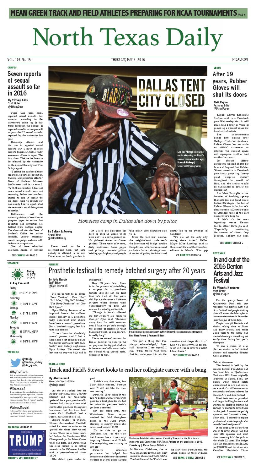 North Texas Daily 5-5-16 by North Texas Daily - issuu