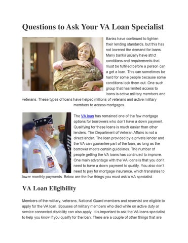 Questions to ask your va loan specialist by leiningernohj