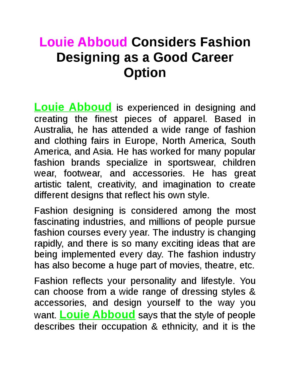 Louie Abboud Considers Fashion Designing As A Good Career Option By Louie Abboud Issuu
