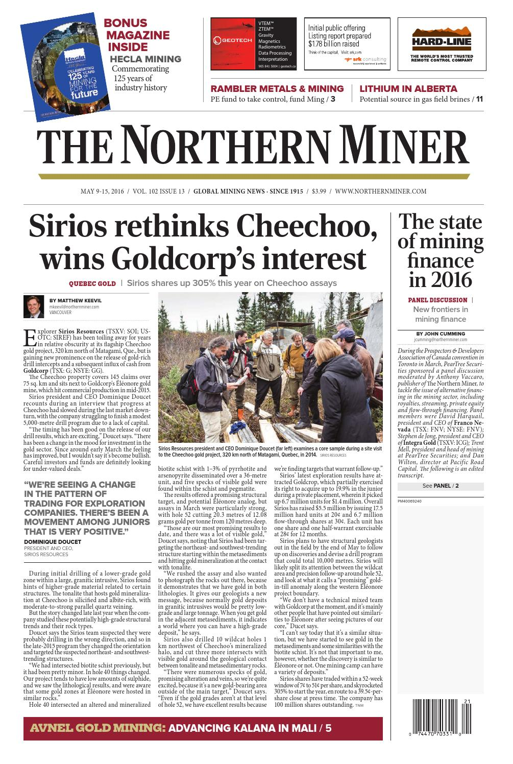 The Northern Miner May 9 2016 Issue by The Northern Miner Group - issuu