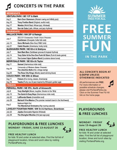 Community Music Center Summer Activities 2016 By Portland Parks