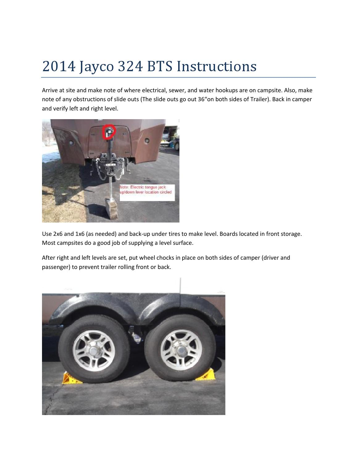 Setup instructions for jayco 324bts 2015 season by