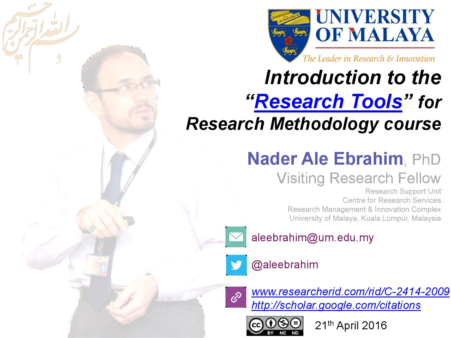 """Introduction to the """"Research Tools"""" for Research"""