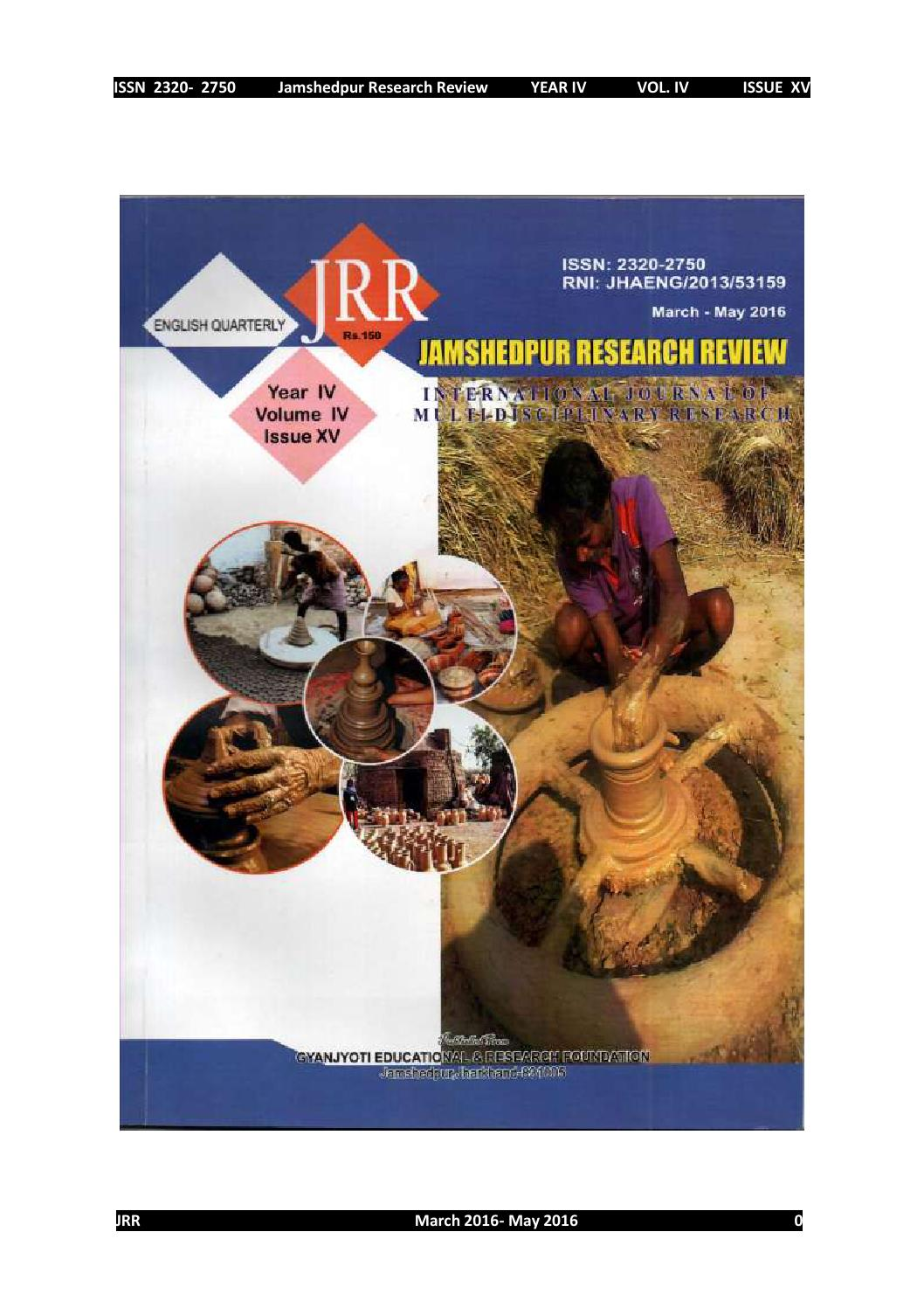 Jamshedpur reseearch review issue 15 by Mithilesh Choubey - issuu