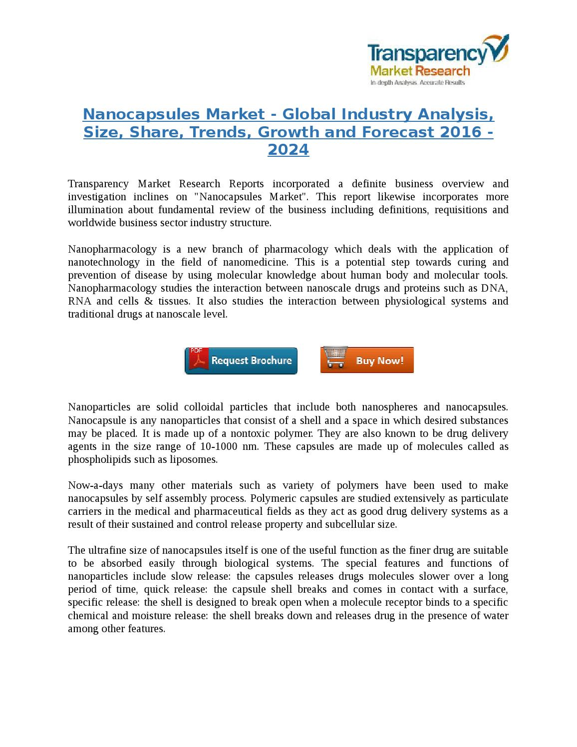 Nanocapsules Market - Global Industry Analysis, Trends