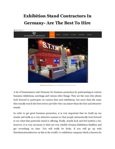 Exhibition Stand Contractor In Germany : Exhibition stand contractors in germany are the best to hire by