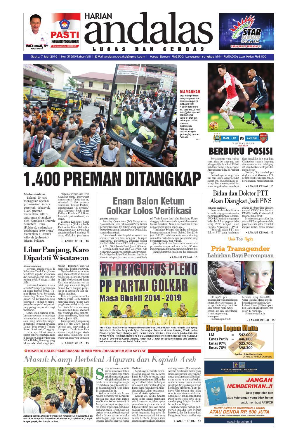 Epaper Andalas Edisi Sabtu 7 Mei 2016 By Media Issuu Fcenter Lemari Pakaian Wd Hk 1802 Sh Jawa Tengah