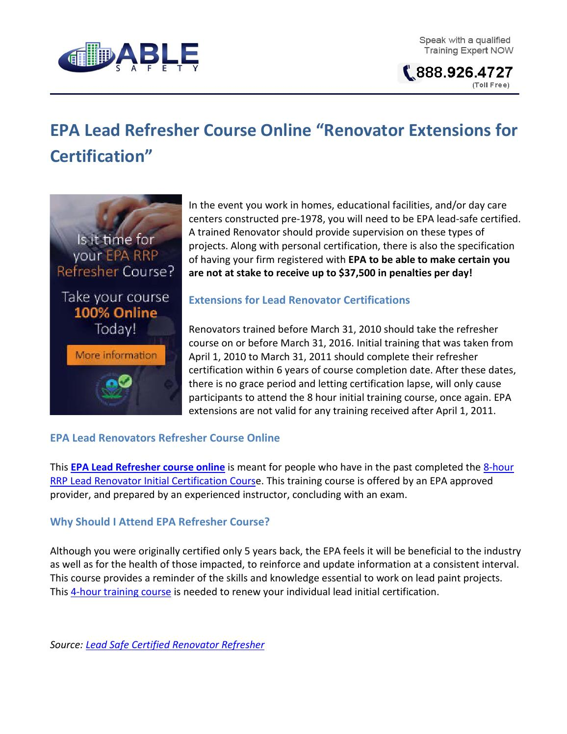 Epa Lead Refresher Course Online Renovator Extensions For
