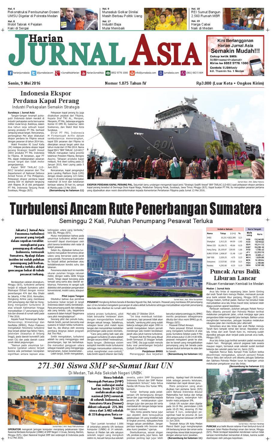Harian Jurnal Asia Edisi Senin 09 Mei 2016 By Produk Ukm Bumn Blazer Jaquard Medan Issuu