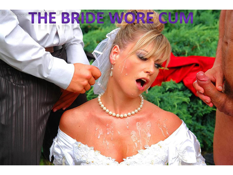 Bridesmaids helping the bride to pee