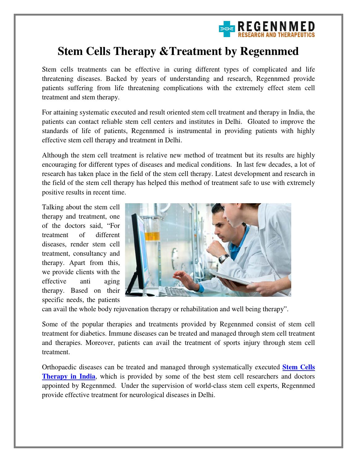 Stem cells therapy &treatment by regennmed by regennmed - issuu