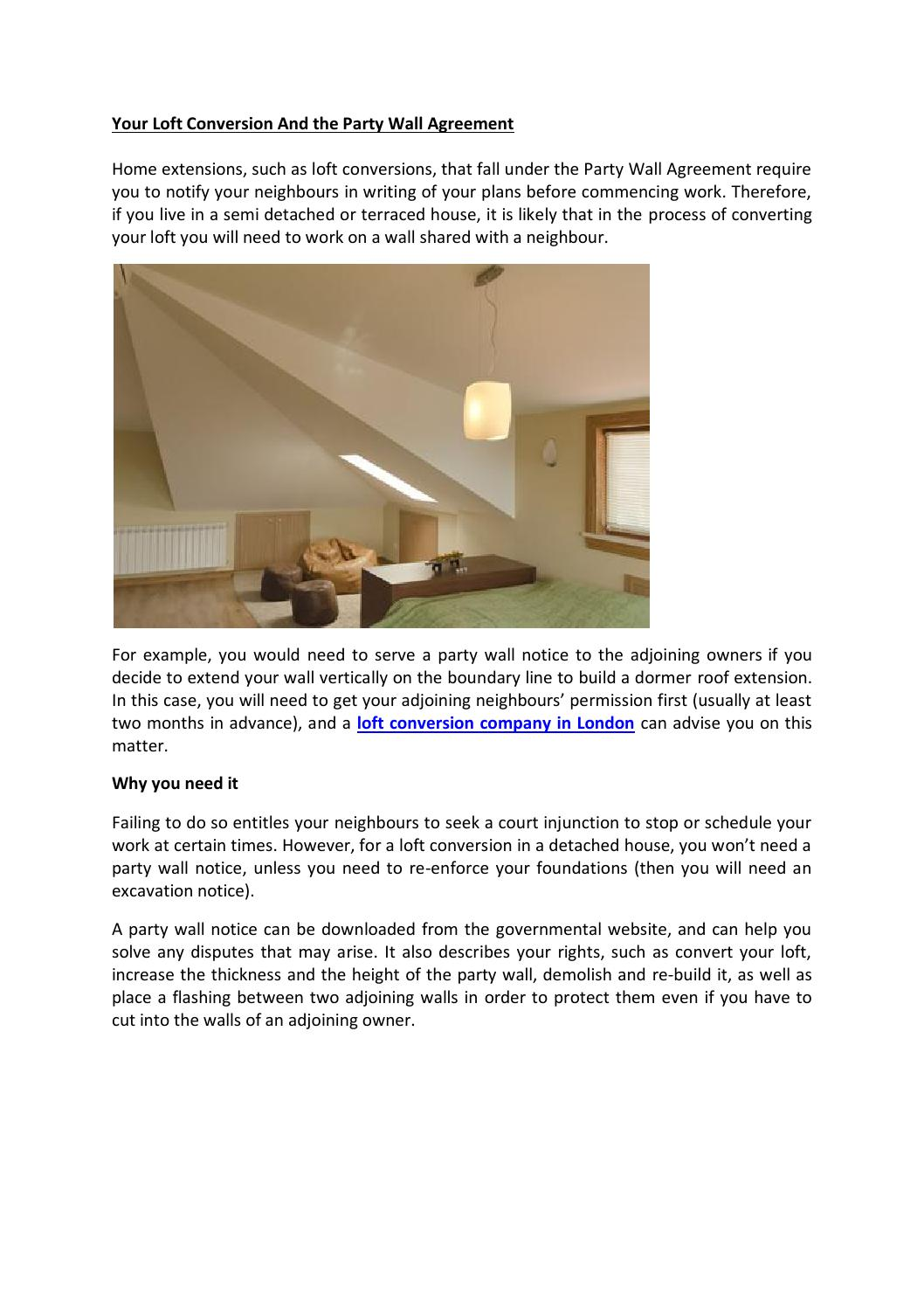 your loft conversion and the party wall agreement by sky