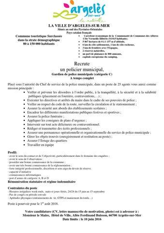 Argeles Sur Mer Recrutement Police Municipale 09 05 2016 By