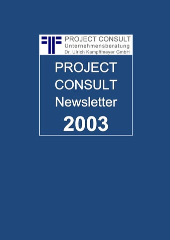 DE] PROJECT CONSULT Newsletter 2003   PROJECT CONSULT ...